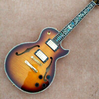 Electric Guitar With F-hole Abalone Flower Inlaid Fingerboard Free Shipping