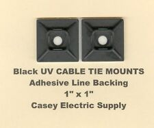 """25 1"""" Inch x 1"""" Inch Cable Tie Mount Black Uv Nylon w/Adhesive Backing Made Usa"""