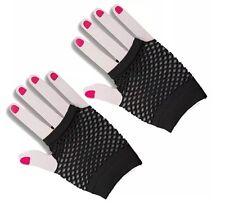 Black Ladies Fishnet 1980's Short Fingerless Gloves Women Halloween Fancy Dress