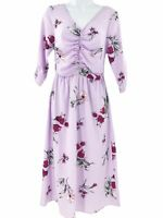 Bobeau Ruched Floral Midi Dress Purple XS