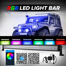 52inch 1000W RGB LED Light Bar Multi Color Halo Ring Offroad ATV Ford Jeep 50/54