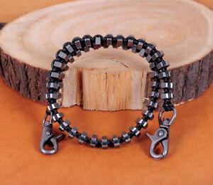 SteamPunk Rock Biker Nuts Black Rope Braided Heavy Trucker Key Jean Wallet Chain