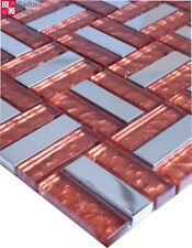 Mosaïque en verre carrelage Mosaïques acier inox rouge argent 1 m²