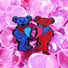 They Love Each Other Bears Pin Set - Red and Blue Glitter