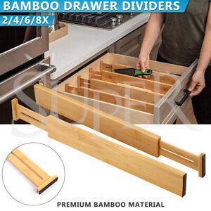 Expandable Bambo Drawer Divider Adjustable Storage Organizer Kitchen Organizer