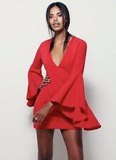 NEW Free People X Backstage bright red deep V Big Bell Sleeve Neckline Dress L