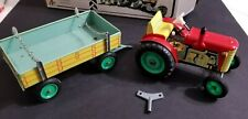 Zetor Tractor and Trailer with Key Wind Up Tin Toy Czech Republic With Box.