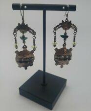 Taxco Mexico Turtle 925 Vintage Cascade Chandelier Dangle Drop Earrings