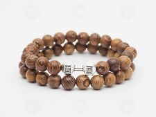 Mens Silver Lift Sandalwood Bracelet Wooden Gym Workout Weights Bead Gift UK