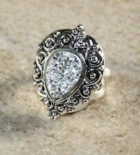 SILVER Vintage Style Shiny Silver Titanium Druzy Teardrop 10x14mm Ring Size 9.75