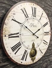 58cm Extra Large Antique French Vintage Style Pendulum Wall Clock