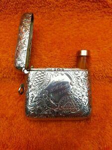 Antique Sterling Silver Hallmarked 1906 WW1 Ins. Vesta Case & 9c Gold Cheroot