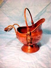 DUTCH COPPERWARE Made in Ireland Ash Scuttle Delft style Handle Brass Lion sides