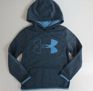 Under Armour Fleece Branded Hoodie Boys YSM Small Loose Coldgear Gray Blue READ