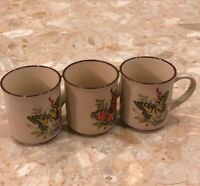 Vintage Set Lot 3 Viking Handcrafted Korea Coffee Mugs Butterfly Nature Flower