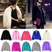 New Fashion Ladies Womens Faux Fur Coat jacket Winter Parka Outerwear Size S M L