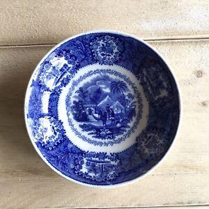 "Vintage Antique Blue Transferware Plate Dish Bowl Camel Middle East Design 6"""