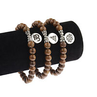 Charm Men Women Buddha Lotus Pendant Wooden Beads Bracelets Fashion Jewelry Gift