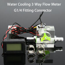 Water Liquid Cooling 3 Way Flow Meter With Thermometer Blue LED G1/4 Fitting