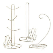 Premier Housewares 3pc Set Metal Cream Kitchen Holder Mug Tree & Banana Hanger