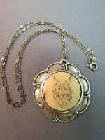 """VTG Antique Sterling Silver Pendant Necklace Cat Face Etched Carved 16"""" Chain"""