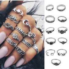 Vintage 11Pcs/Set Boho Arrow Moon Midi Finger Knuckle Rings Silver Ring Gift New