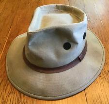 Quaker Marine Supply Canvas Fedora-Hunting, Fishing, Safari Hat -Mens Med.-VGUC!
