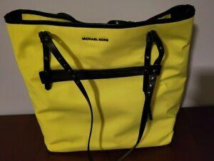 MICHAEL KORS Leila Neon Yellow Large Tote Shoulder Bag Purse NWT RARE COLORWAY