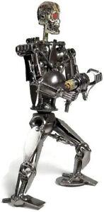 8.0 Inch Metal Terminator Robot Sculpture - Recycled Metal Art Sculpture office