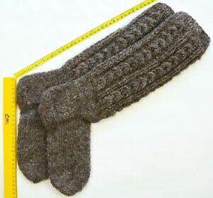 Women's Knee-High Knit Socks > Size 23-25cm > Gray color #04 Sheep Wool HANDMADE