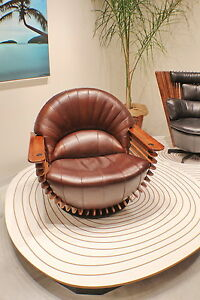 "39"" W Arm swivel chair soft Italian leather medium brown polished exotic wood"