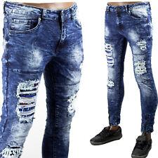 Pantaloni Uomo Strappati Jeans Slim Fit Aderenti Elastici Toppe Sfilacciato Blu