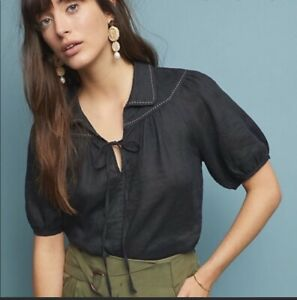 Anthropologie New Size Medium Black Linen Collared Blouse