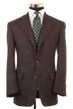 Samuelsohn Brown Black Woven Wool Cashmere Sport Coat Blazer Jacket 39 R