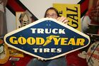 """Vintage 1958 Goodyear Truck Tires Chevrolet Ford Dodge Gas Oil 28"""" Metal Sign"""