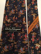 Salvatore Ferragamo 100% Silk Necktie Navy Blue Asian Theme Rafts Novelty Tie