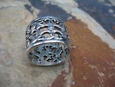 Sterling Silver Filigree Wide Floral Design Cigar Band Ring NEW Size 9