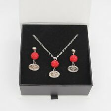 San Francisco 49ers Jewelry Shamballa Bead Crystal Necklace and Earrings Set