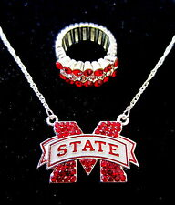 FREE RING! Mississippi State University Bulldogs CRYSTAL NECKLACE jewelry set