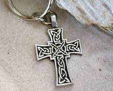 CELTIC KNOT IRISH CROSS SILVER Pewter KEYCHAIN Key Ring