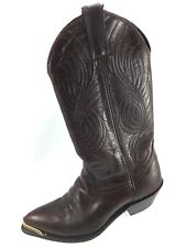 SH10 Code West 5M Burgundy Brown Leather Stitched Cowboy Boots Embellished Tips