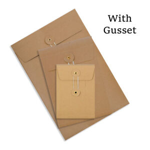 All Sizes Quality String&Washer Manilla With Gusset Envelopes Button-Tie Cheap