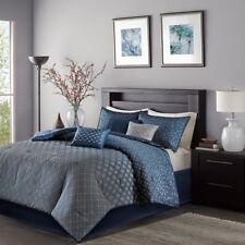 Queen Size Biloxi 7 Piece Comforter Set Blue Contemporary Madison Park Mp10-3733