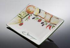 """BASSANO rechteckige Käse- """"Formaggio"""" Schale italienische Keramik 33x22 Reliefen"""