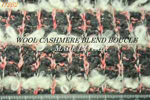 BOUCLE KNIT GREY + WINTER WHITE +PINK LUXURY WOOL-CASHMERE MADE IN ITALY D262