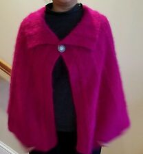 hand-knitted long hair Angora Goats cashmere cape/poncho(hot pink)