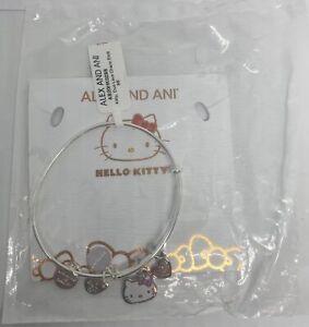 Alex Ani Hello Kitty Duo Love Charm Bangle Shiny Silver Finish New with Tag
