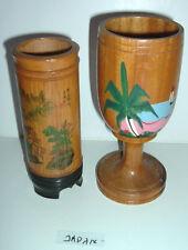 Vintage Japanese Wood Cup Goblet Japan Souvenir Old sake mug set lot Ja. W.I.