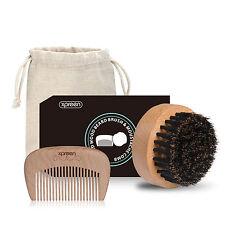 Pettine/Brush Set in legno fatto a mano 100% naturale di Cinghiale Setola UOMINI BARBA/BAFFI cura