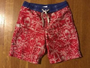Hanna Andersson Swim Trunks Swimming Shorts Size 100 Boys' 4 Red Tropical Tiki